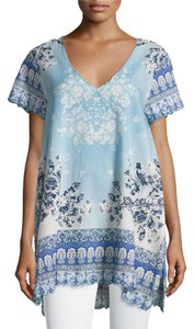 Johnny Was Cotton Scalloped V-neck Short Sleeve Side Vents Tunic