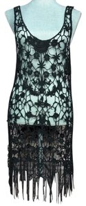 Free People Crochet Fringe Floral Cover-up Dress Tunic