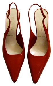 Escada Patent Leather Sling Back Red Pumps