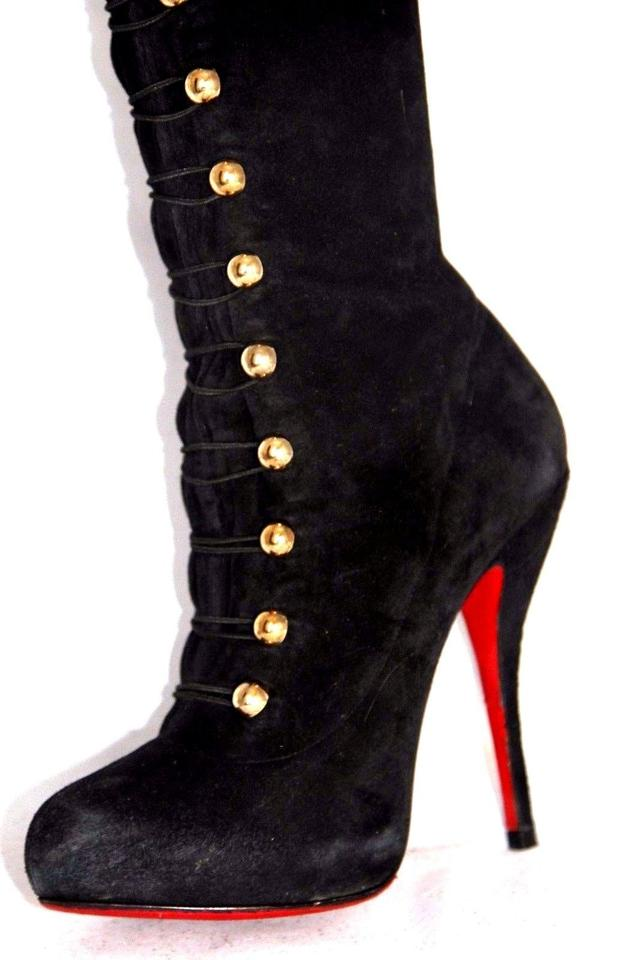 b76225f4a7c Christian Louboutin Black Ronfifi Supra Suede Platform Over Knee Thigh High  Heel Lady Red Sole Boots/Booties Size EU 39 (Approx. US 9) Regular (M, B)
