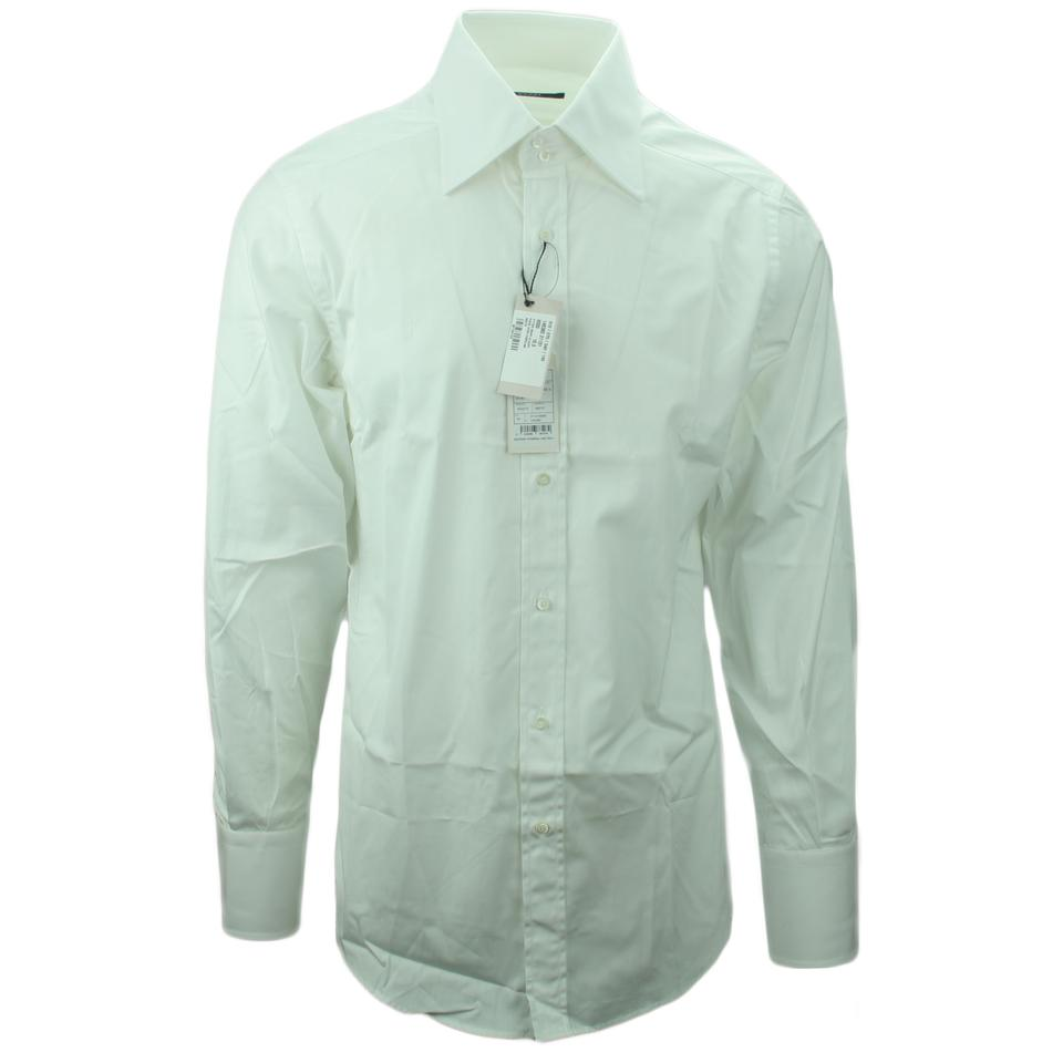 Gucci White 145380 Mens 155 Fitted Cotton Dress Shirt Button Down