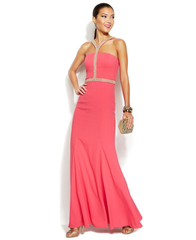 JS Collections Pink Halter Beaded Trim Long Formal Dress Size 4 (S ...