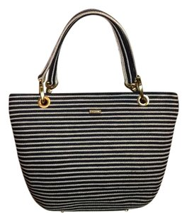 Eric Javits Classic Lined Pockets Striped Raffia Tote in Navy/White