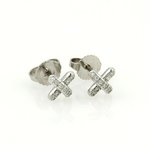 Tiffany & Co. Platinum Diamond Mini Cross Stitch Stud Earrings