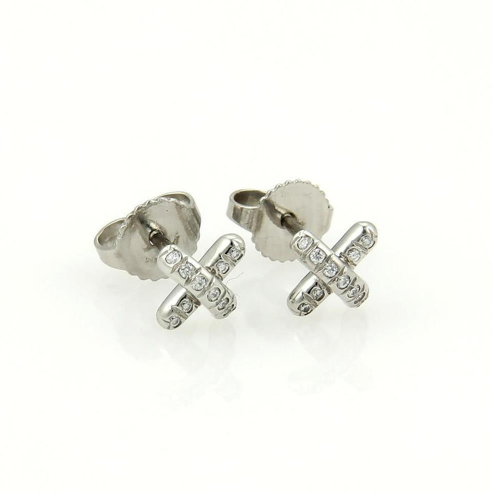Tiffany Co Platinum Diamond Mini Cross Sch Stud Earrings