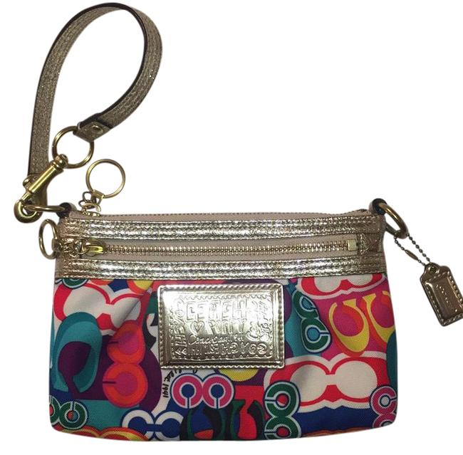 Item - Poppy Collection Multi with Metallic Gold Accents Cotton Wristlet