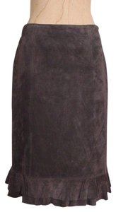 Ann Taylor Suede Leather Ruffle Evening Skirt BROWN