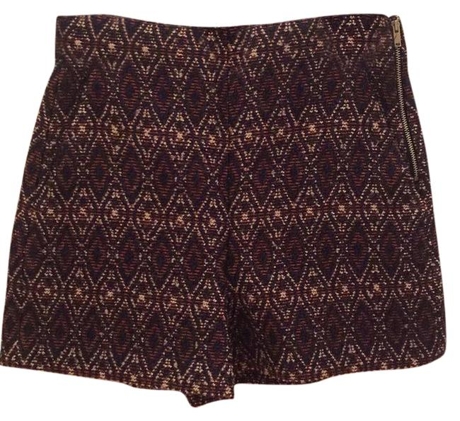 Item - Navy/Orange/Cream Woven Patterned Shorts Size 0 (XS, 25)