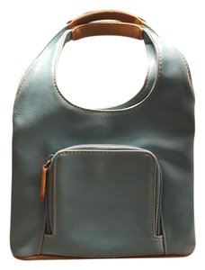 Nine West Leather Mirror Multi Compartment Satchel in Turquoise