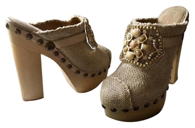 Item - Beige Linen Runway Gripoix Jeweled Cabachon Crystals Pearls Cap Toe Studded Mules/Slides Size EU 36 (Approx. US 6) Regular (M, B)