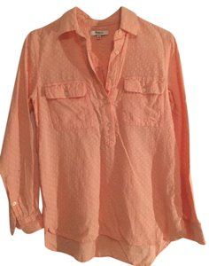 Madewell Clip Dot Button Down Shirt Salmon Pink