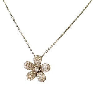 Neiman Marcus Rhodium Over Sterling Silver & Cubic Zirconia Flower Necklace