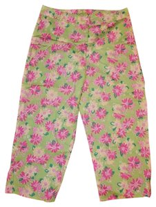 Lilly Pulitzer Stretchy Cotton Blend Lightweight Floral Print Capris Lime Green Multi