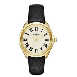 Kate Spade Kate Spade New York Women's Gold-Tone and Black Leather Watch KSW1093