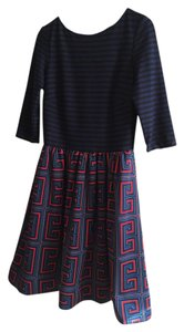 Taylor Fit And Flare Striped Boat Neck Dress
