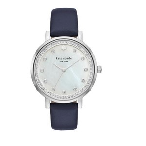 Kate Spade Kate Spade New York Women's navy leather and silver watch KSW1171