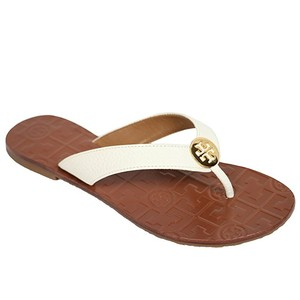 Tory Burch Elegant Beach Gold White Sandals