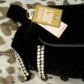 Juicy Couture Quilted Black and Silver Velvet Clutch Juicy Couture Quilted Black and Silver Velvet Clutch Image 8