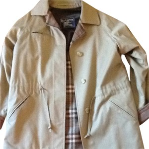 Burberry Beige Poplin With Green Burberry Plaid Lining Jacket
