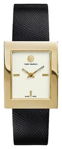 Tory Burch NWT BUDDY CLASSIC TRB2000 GOLD/ BLACK LEATHER WATCH