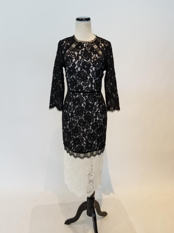 8772e287f7e6 Alexis Black and White Whitney Lace A-line Mid-length Cocktail Dress ...