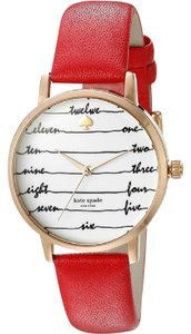 Kate Spade KateSpade New York Women's Gold-Tone and Red Leather Watch KSW1061