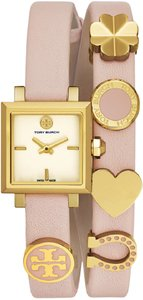 Tory Burch NWT saucy blush leather gold and pink double wrap watch tb5352