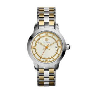 Tory Burch NWT Classic Two-tone Gold/Silver Chronograph watch TB1029