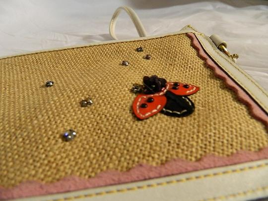Coach Limited Edition Rare Ladybugs Crystal Embossed Leather Wristlet in White/Multicolor/Gold