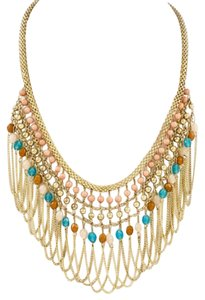 Belle Belle Women's Coral Turquoise Multi Beads Statement Necklace