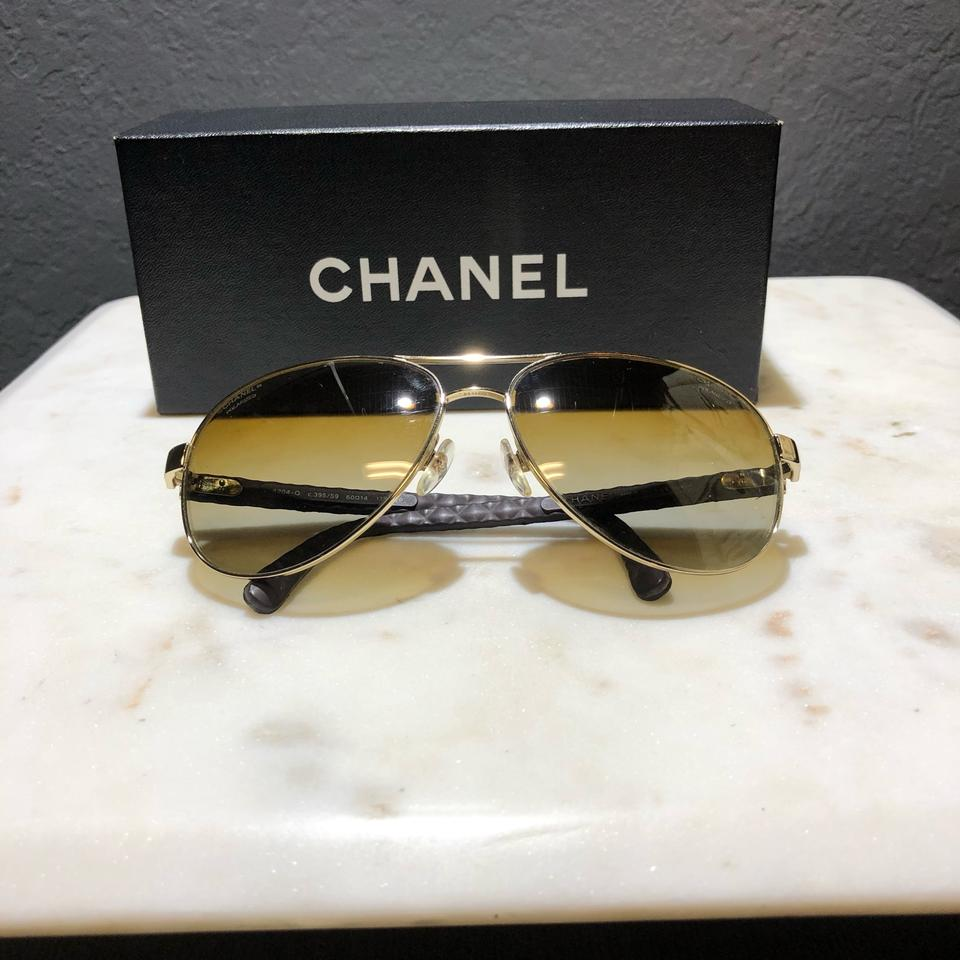 dd7640085f Chanel Brown Quilted Leather Polarized Aviator Sunglasses - Tradesy