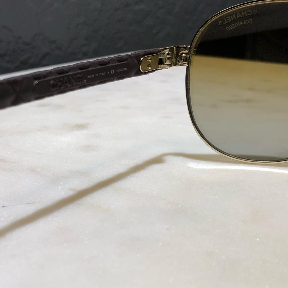 63fbd42841 Chanel Chanel Brown Quilted Leather Polarized Aviator Sunglasses.  12345678910