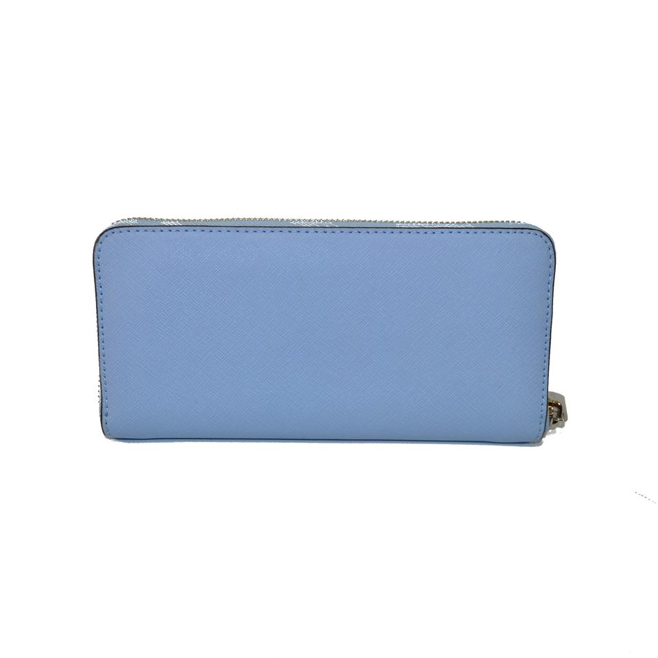 c586690b2231 Michael Kors Light Sky Travel Zip Around Continental Blue Wallet ...