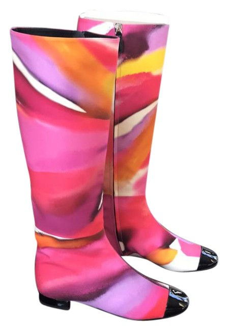 Item - Multicolor Tie Dye Color Black Patent Cap Boots/Booties Size EU 38 (Approx. US 8) Regular (M, B)