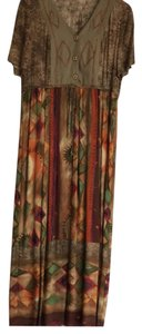 brown gold, burgundy, orange, green and tan Maxi Dress by Carole Little