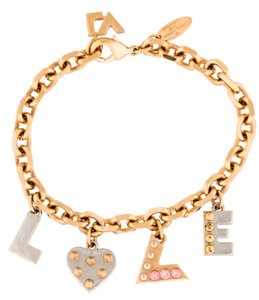 Louis Vuitton Gold-tone silver-tone Louis Vuitton crystal LOVE charm bracelet