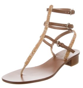 Valentino Crystal Rockstud Strappy Cage Ankle Strap Brown, Gold Sandals
