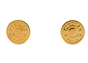 Herms Gold-tone Hermes Clou de Selle clip on earrings