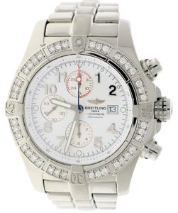 Breitling Breitling Super Avenger 48MM White Dial A13370 Watch w/Diamond Bezel
