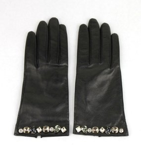 Gucci Gucci Black Leather Gloves With Gemstone Detail 7.5 370650 1093