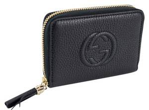 Gucci GUCCI 351484 Women's Soho Leather Disco Mini Zip Around Wallet, Black