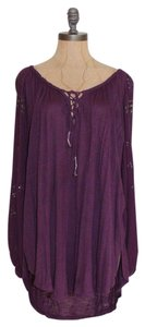Free People Gypsy Embroidered Beaded Free Bohemian Top PURPLE