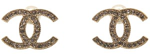 Chanel #11909 F14V Timeless CC crystals gold pierced stud earrings