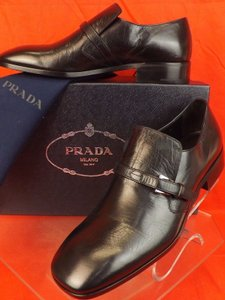 Prada Black Mens Distress Leather Belted Buckle Logo Loafers 6 7 Italy Shoes