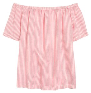 J.Crew Linen Casual Summer Top Pink & white stripe