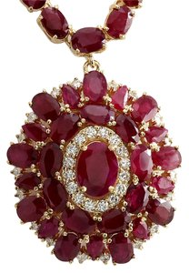 Fashion Strada 53.68CTW Natural African Ruby And Diamond Necklace In 14K Yellow Gold