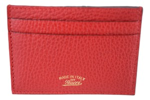 Gucci Gucci 368876 Leather Card Case Holder Wallet, Red