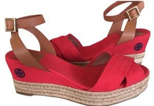 Tory Burch Espadrille Canvas Nautical Patriotic July 4 red Wedges