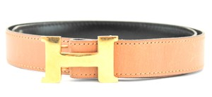 Herms #11914 24Mm Gold H Belt Size 65 Reversible Belt Black on Gold