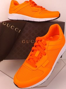 Gucci Neon Orange Perforated Leather Script Logo Runner Sneakers 10 11 Shoes